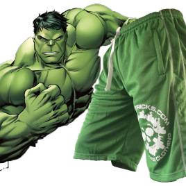 FREE post HULKING green shorts